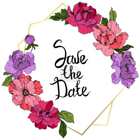 Illustration for Vector Pink and purple peonies. Wildflowers isolated on white. Engraved ink art. Floral frame border with 'save the date' lettering - Royalty Free Image