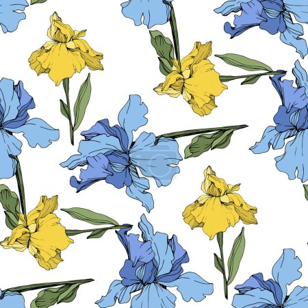 Illustration for Vector yellow and blue irises. Wildflowers isolated on white. Engraved ink art. Seamless background pattern. Wallpaper print texture. - Royalty Free Image