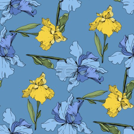 Illustration for Vector blue and yellow irises. Wildflowers isolated on blue. Engraved ink art. Seamless background pattern. Wallpaper print texture. - Royalty Free Image