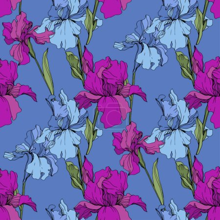 Illustration for Vector purple and blue irises. Wildflowers isolated. Engraved ink art. Seamless background pattern. Wallpaper print texture. - Royalty Free Image