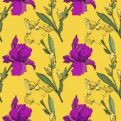 Vector purple and yellow irises Wildflowers isolated on yellow Engraved ink art Seamless background pattern Wallpaper print texture