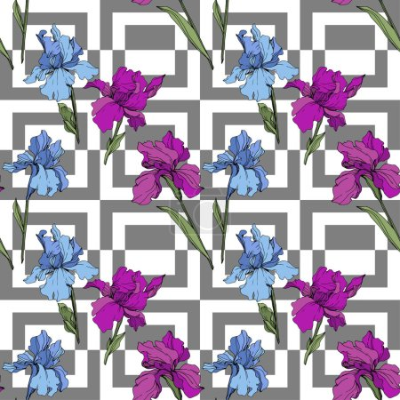 Illustration for Vector purple and blue irises. Wildflowers on ornamental background. Engraved ink art. Seamless background pattern. Wallpaper print texture. - Royalty Free Image