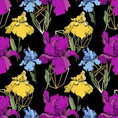 Illustration for Vector purple, yellow and blue irises. Wildflowers isolated on black. Engraved ink art. Seamless background pattern. Wallpaper print texture. - Royalty Free Image