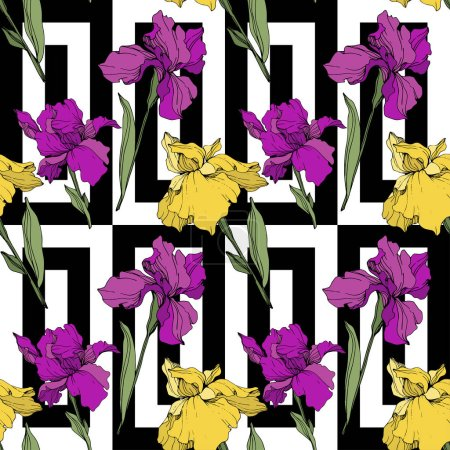 Illustration for Vector purple and yellow irises. Wildflowers on ornamental background. Engraved ink art. Seamless background pattern. Wallpaper print texture. - Royalty Free Image