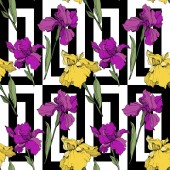 Vector purple and yellow irises Wildflowers on ornamental background Engraved ink art Seamless background pattern Wallpaper print texture