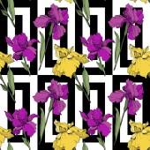 """Постер, картина, фотообои """"Вектор фиолетовый и Желтые ирисы. Полевые цветы на фоне декоративных. Гравированные чернила искусство. Бесшовный фон узор. Обои для рабочего стола текстура и печати"""""""
