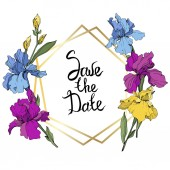 Vector purple blue and yellow irises Wildflowers isolated on white Floral frame border with 'save the date' lettering