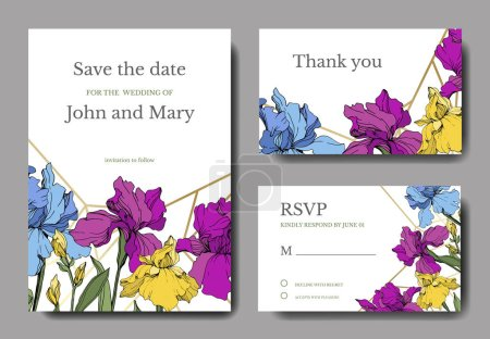 Illustration for Vector irises. Engraved ink art. Wedding background cards with decorative flowers. Thank you, rsvp, invitation cards graphic set banner. - Royalty Free Image
