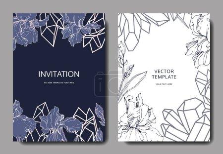 Illustration for Vector irises. Engraved ink art. Wedding background cards with decorative flowers. Invitation cards graphic set banner. - Royalty Free Image
