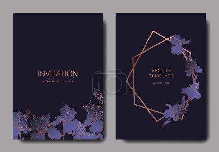 Illustration pour Iris vectoriels. Encre gravée. Cartes de fond de mariage avec des fleurs décoratives. Cartes d'invitation ensemble graphique bannière . - image libre de droit