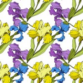 Vector yellow blue and purple Irises Colorful wildflowers isolated on white Engraved ink art Seamless background pattern Wallpaper print texture