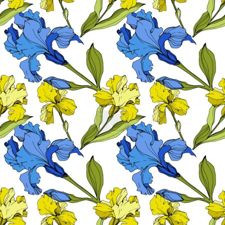 Illustration for Vector yellow and blue Irises. Colorful wildflowers isolated on white. Engraved ink art. Seamless background pattern. Wallpaper print texture. - Royalty Free Image