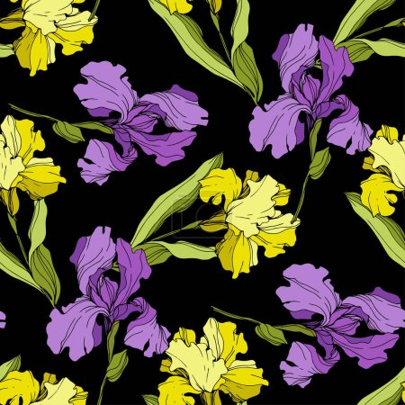 Illustration for Vector purple and yellow Irises isolated on black. Colorful wildflowers. Engraved ink art. Seamless background pattern. Wallpaper print texture - Royalty Free Image