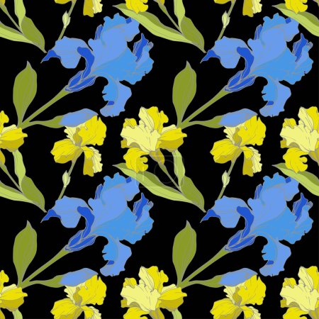 Illustration for Vector blue and yellow Irises isolated on black. Colorful wildflowers. Engraved ink art. Seamless background pattern. Wallpaper print texture - Royalty Free Image