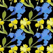 Vector blue and yellow Irises isolated on black Colorful wildflowers Engraved ink art Seamless background pattern Wallpaper print texture