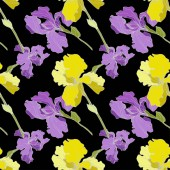 Vector purple and yellow Irises isolated on black Colorful wildflowers Engraved ink art Seamless background pattern Wallpaper print texture