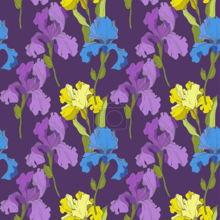Illustration for Vector Irises on purple background. Colorful wildflowers. Engraved ink art. Seamless background pattern. Wallpaper print texture - Royalty Free Image