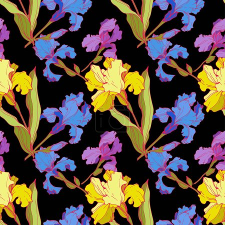 Illustration for Vector Irises isolated on black. Colorful wildflowers. Engraved ink art. Seamless background pattern. Wallpaper print texture - Royalty Free Image