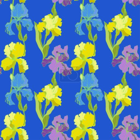 Illustration for Vector Irises on blue background . Colorful wildflowers. Engraved ink art. Seamless background pattern. Wallpaper print texture - Royalty Free Image