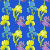 Vector Irises on blue background  Colorful wildflowers Engraved ink art Seamless background pattern Wallpaper print texture