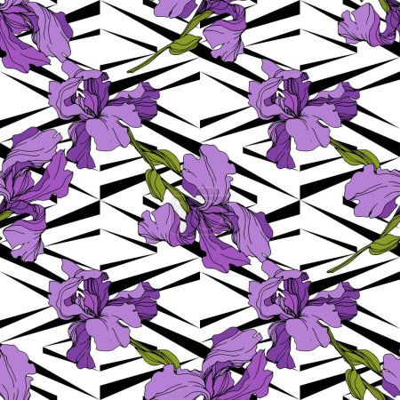 Illustration for Vector purple Irises on ornamental background. Colorful wildflowers. Engraved ink art. Seamless background pattern. Wallpaper print texture - Royalty Free Image