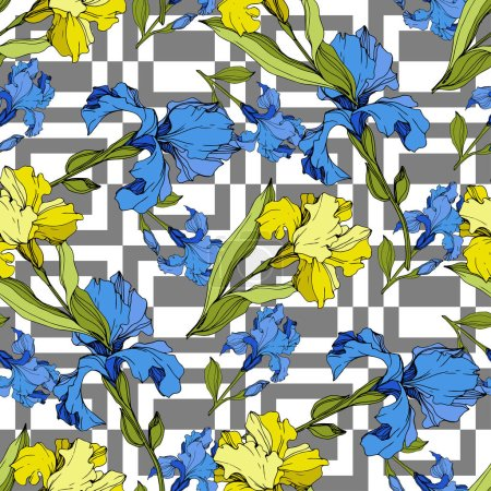 Illustration for Vector blue and yellow Irises on ornamental background. Colorful wildflowers. Engraved ink art. Seamless background pattern. Wallpaper print texture - Royalty Free Image