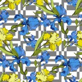 Vector blue and yellow Irises on ornamental background Colorful wildflowers Engraved ink art Seamless background pattern Wallpaper print texture
