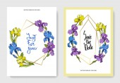 Vector irises Engraved ink art Wedding background cards with decorative flowers Invitation cards graphic set banner