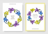 Vector irises Engraved ink art Wedding cards with decorative flowers on background Invitation cards graphic set banner