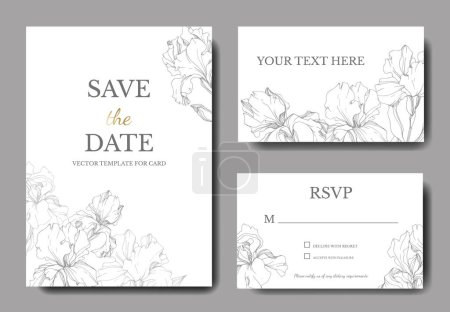 Illustration for Vector irises. Engraved ink art. Wedding cards with decorative flowers on background. 'Save the date', 'rsvp', invitation cards graphic set banner. - Royalty Free Image
