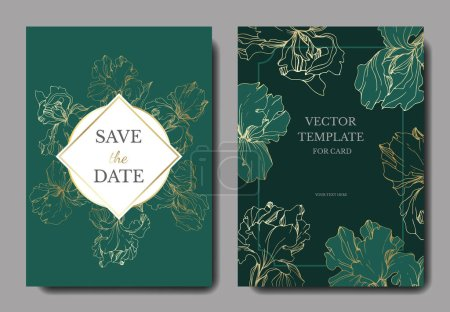 Illustration for Vector irises. Engraved ink art. Wedding cards with decorative flowers on background. Invitation cards graphic set banner - Royalty Free Image