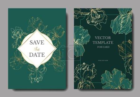 Illustration pour Iris vectoriels. Encre gravée. Cartes de mariage avec des fleurs décoratives sur fond. Cartes d'invitation ensemble graphique bannière - image libre de droit