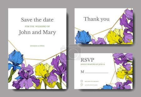 Illustration for Vector irises. Engraved ink art. Wedding cards with decorative flowers on background. 'Thank you', 'rsvp', invitation cards graphic set banner. - Royalty Free Image