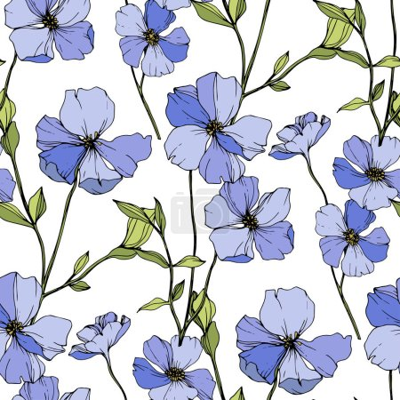 Illustration for Vector Blue flax. Wildflowers isolated on white. Engraved ink art. Seamless background pattern. Wallpaper print texture. - Royalty Free Image