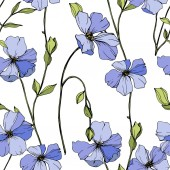 Vector Blue flax Wildflowers isolated on white Engraved ink art Seamless background pattern Wallpaper print texture