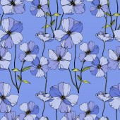 Vector Blue flax Wildflowers isolated on blue Engraved ink art Seamless background pattern Wallpaper print texture