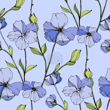 Illustration for Vector Blue flax. Wildflowers isolated on blue. Engraved ink art. Seamless background pattern. Wallpaper print texture. - Royalty Free Image