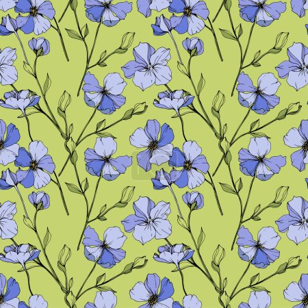 Illustration for Vector Blue flax. Wildflower isolated on green. Engraved ink art. Seamless background pattern. Wallpaper print texture. - Royalty Free Image