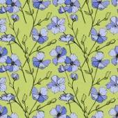 Vector Blue flax Wildflower isolated on green Engraved ink art Seamless background pattern Wallpaper print texture