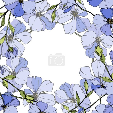 Illustration for Vector Blue flax. Wildflowers isolated on white. Engraved ink art. Floral frame border. - Royalty Free Image