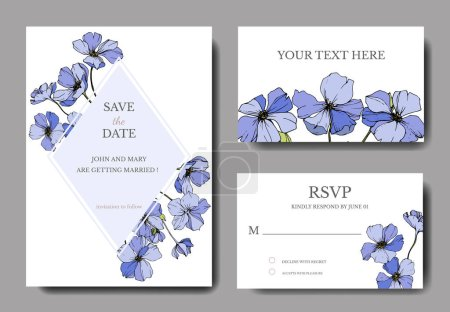 Illustration for Vector Flax. Engraved ink art. Wedding background cards with decorative flowers. Rsvp, invitation cards graphic set banner - Royalty Free Image