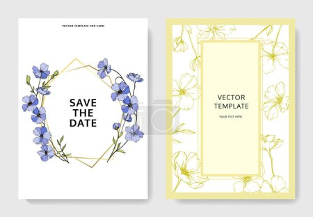 Illustration for Vector Flax. Engraved ink art. Wedding background cards with decorative flowers. Invitation cards graphic set banner. - Royalty Free Image