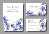 Vector Flax Engraved ink art Wedding background cards with decorative flowers Thank you rsvp invitation cards graphic set banner