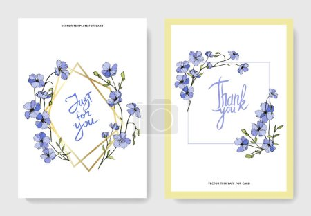 Illustration for Vector Flax. Engraved ink art. Cards with 'thank you' and 'just for you' lettering. Graphic set banner. - Royalty Free Image