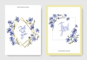 Vector Flax Engraved ink art Cards with 'thank you' and 'just for you' lettering Graphic set banner