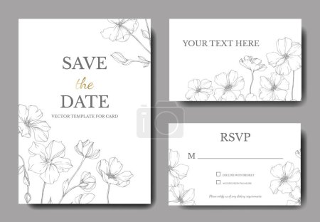 Illustration for Vector Flax. Engraved ink art. Wedding background cards with decorative flowers. Rsvp, invitation cards graphic set banner. - Royalty Free Image