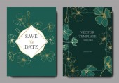 Vector Flax Engraved ink art Wedding background cards with decorative flowers Invitation cards graphic set banner