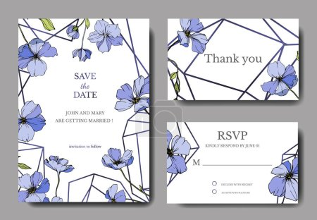 Illustration for Vector Flax. Engraved ink art. Wedding background cards with decorative flowers. Thank you, rsvp, invitation cards graphic set banner. - Royalty Free Image