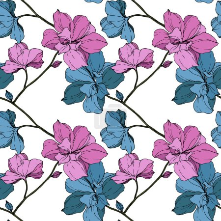 Illustration for Vector blue and purple orchids isolated on white. Seamless background pattern. Fabric wallpaper print texture. - Royalty Free Image