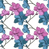 Vector blue and purple orchids isolated on white Seamless background pattern Fabric wallpaper print texture